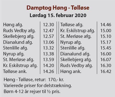 Køreplanen for veterantogskørsel i vinterferien 2020 hvor der standses i Dianalund